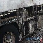 تصاویری وحشتناک از آتش سوزی اتوبوس مسافربری در کرج