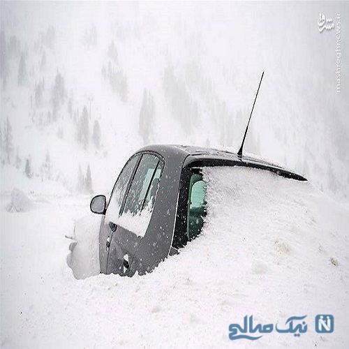تصاویری جالب از بارش برف۲ متری در اتریش