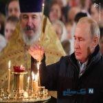 تصاویری از حضور پوتین در کلیسای زادگاهش