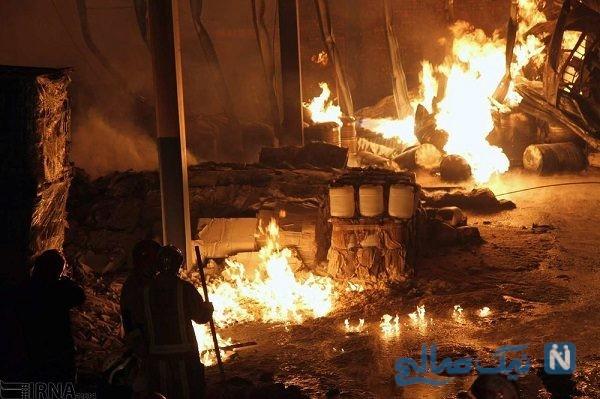 تصاویری وحشتناک از آتش سوزی در کارخانه چسب