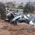 تصاویری وحشتناک از جاری شدن سیل در دروازه قرآن شیراز