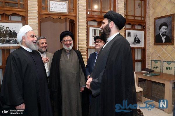 تصاویری از حضور روحانی در خانه سید علی خمینی