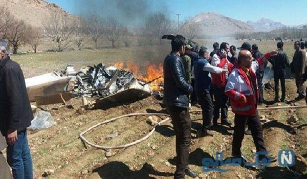 سقوط یک فروند بالگرد اورژانس و شهادت سرنشینان آن + تصاویر