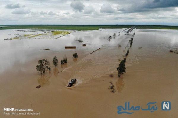 اولین تصاویر هوایی از مناطق سیل زده گلستان