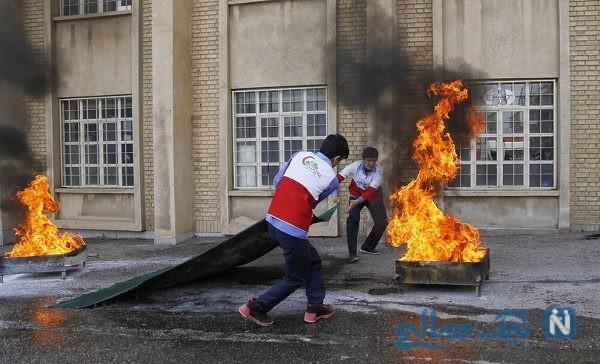 تصاویری جالب از مانور پیشگیری از حوادث چهارشنبه سوری در همدان