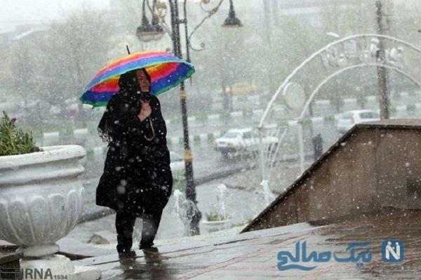بارش برف و سرما در تبریز در سی و سومین روز از بهار