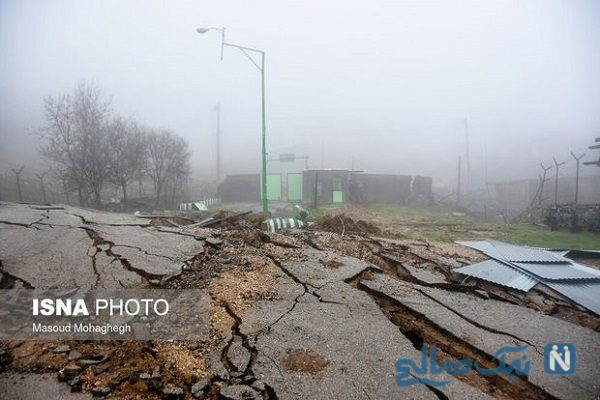 تصاویری وحشتناک از رانش زمین در روستای حسین آباد