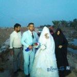 مراسم عروسی زوج خوزستانی روی سیلاب
