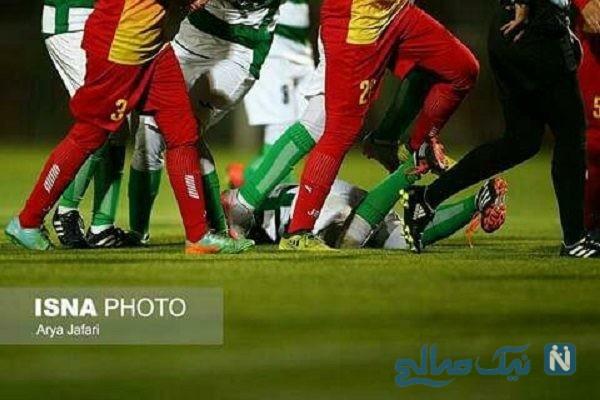 تصاویری عجیب از درگیری دختران فوتبالیست در لیگ برتر بانوان