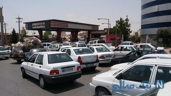 صف طولانی بنزین در تهران بعد از خبر سهمیه بندی + عکس