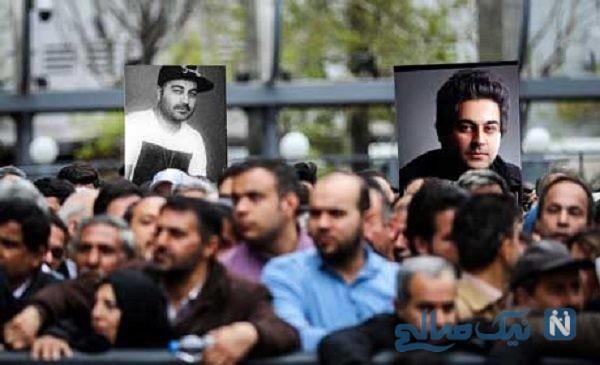 پسر بهنام صفوی خواننده ایرانی در مراسم تشییع پدر جوانش