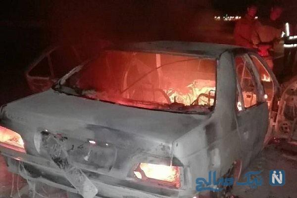 آتش گرفتن پژو پارس منجربه گرفتار شدن ۱۵ نفر شد!
