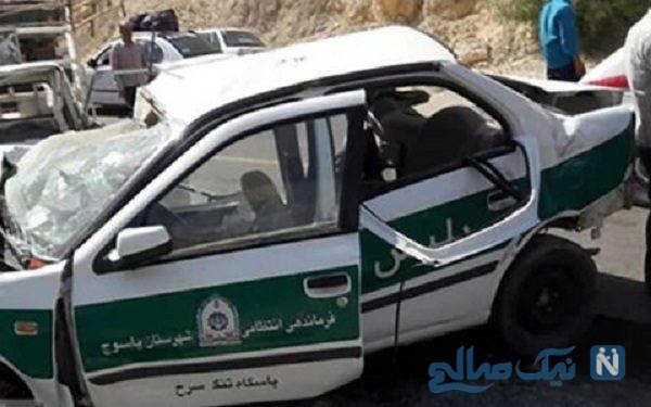 فوت دو مامور ناجا بر اثر تصادف وحشتناک ماشین پلیس با وانت نیسان
