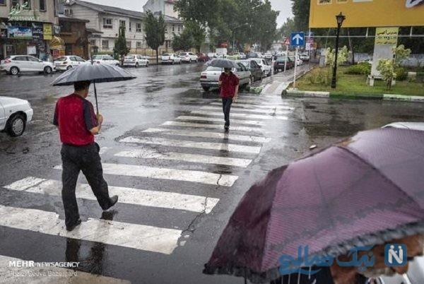 تصاویری از بارش باران تابستانی در رشت