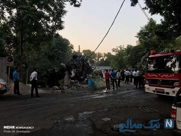 برخورد مرگبار کامیون با دیوار باغ سفارت روسیه در الهیه