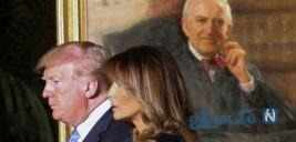 ترامپ و همسرش ملانیا در مراسم ادای احترام به قاضی بزرگ