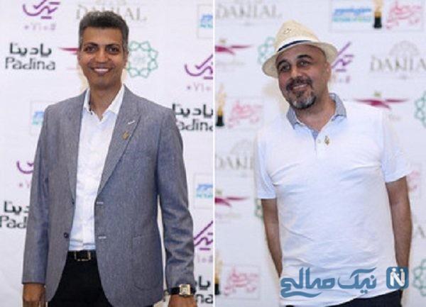 عکس یادگاری عادل فردوسی پور و رضا عطاران در جشن حافظ
