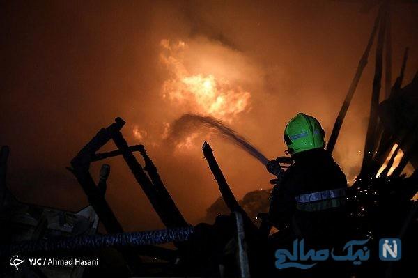 آتش سوزی در انبار چوب ۱۰ مغازه دیگر را هم در مشهد طعمه حریق کرد