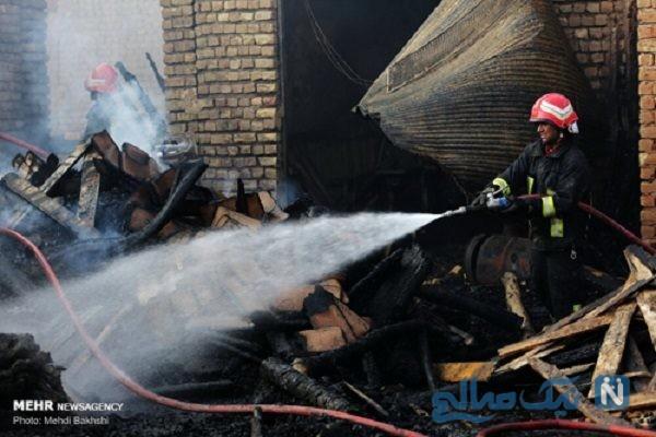 آتش سوزی در بازار کهنه قم و خسارت های وارد شده به بازار