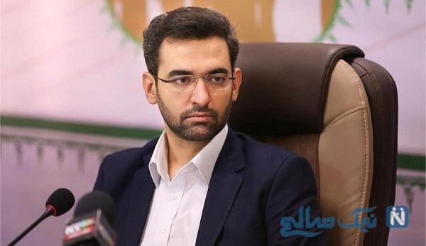 آذری جهرمی وزیر ارتباطات در حال خوردن ساندویچ