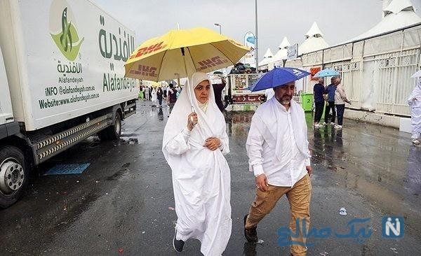 بارش رحمت الهی در سرزمین منا و تصاویری از حجاج در زیر باران