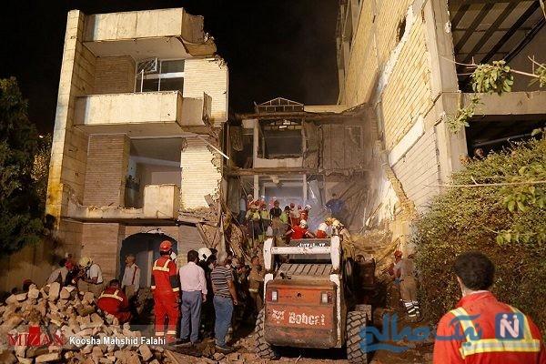 ریزش ساختمان سه طبقه کلنگی در تهران و محبوس شدن سه کارگر زیرآوار