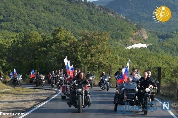 موتورسواری رئیس جمهور با گرگ های شب