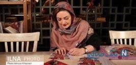شیلا خداداد بازیگر ایرانی به همراه بادیگاردهایش در مراسم رونمایی از کتابش