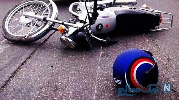 تصادف شدید موتور سوار در حال استراحت