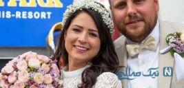 بند باز زن و تصاویری جالب از مراسم عروسی او در آسمان