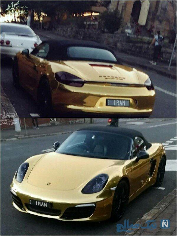 ماشین پورشه با روکش طلا