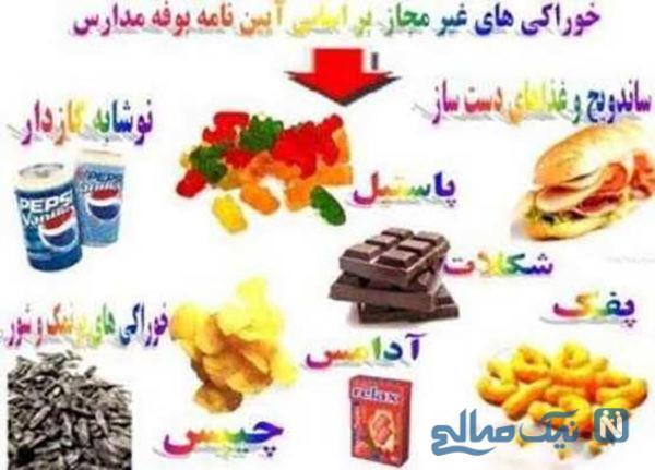 مواد غذایی ممنوع در مدارس
