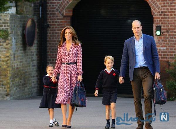 روز اول مدرسه نتیجه ملکه انگلیس به همراه ویلیام و کیت میدلتون