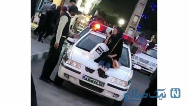 کشف حجاب روی ماشین پلیس