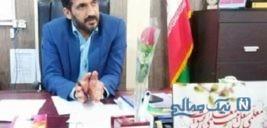قیچی کردن پرچم ایران در یک افتتاحیه به جای روبان در روستای جهاد آباد