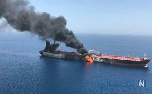 تصاویری از اصابت موشک به نفتکش ایرانی