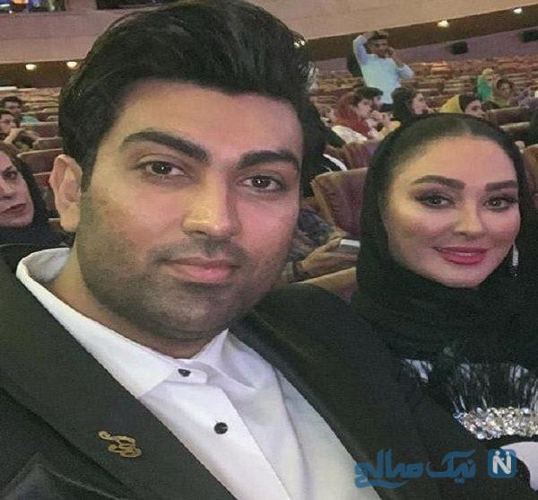 الهام حمیدی و علیرضا صادقی همسرش در اکران مسخره باز