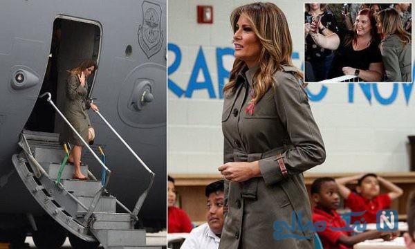 خاص ترین تیپ ملانیا ترامپ در بازدید از یک پایگاه نظامی