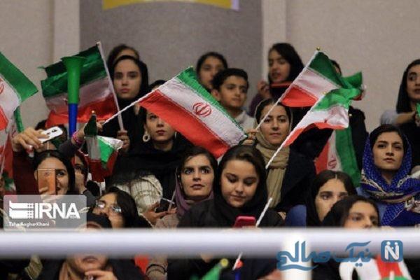 حضور زنان در ورزشگاه غدیر ارومیه برای مسابقه فوتسال تیم ملی ایران