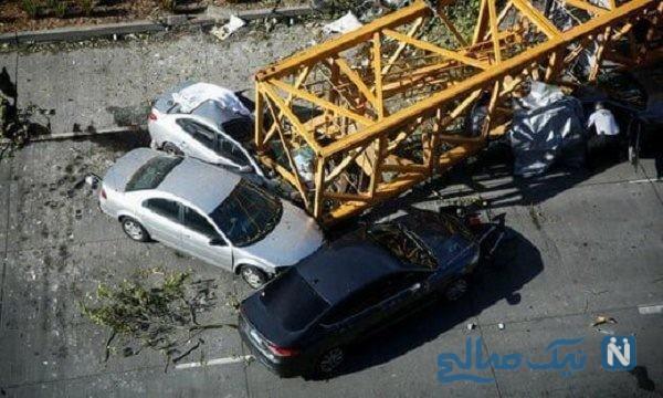 سقوط جرثقیل در تهران ۲ کشته و ۶ مصدوم برجای گذاشت