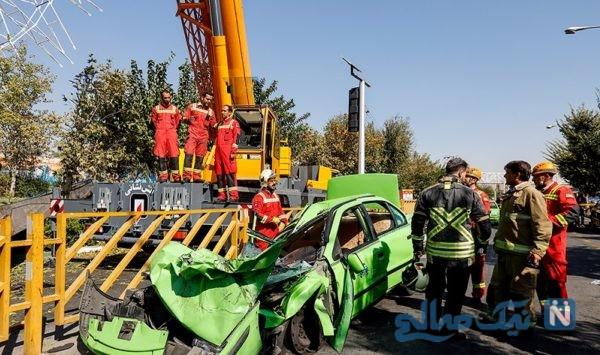 حادثه هولناک سقوط جرثقیل در محلاتی از زبان رئیس آتش + ویدیویی از صحنه