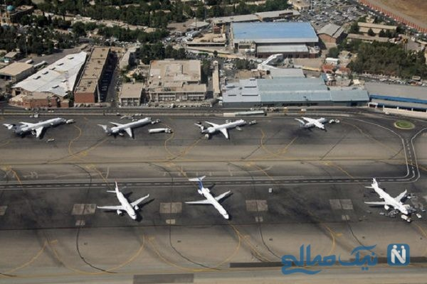 لحظه فروریختن قسمتی از سقف فرودگاه مهرآباد