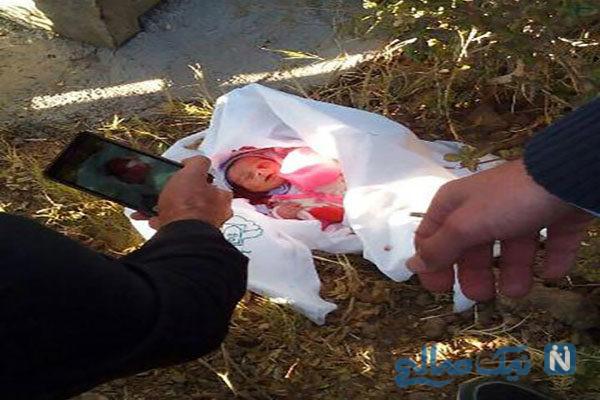 تصویر نوزاد یک روزه رهاشده درخیابان شهرستان ایذه