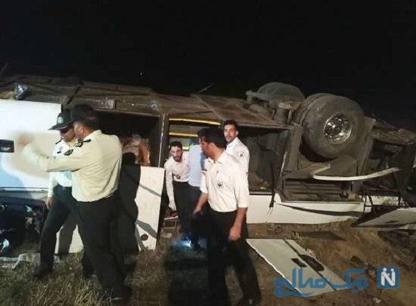 واژگونی اتوبوس در جاده سمنان به دامغان با ۲۲ مصدوم