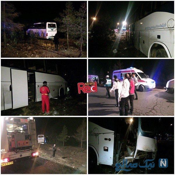 واژگونی اتوبوس در جاده