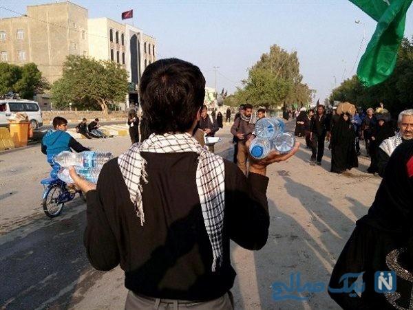 پذیرایی متفاوت موکب کودک عراقی برای زائران حسینی