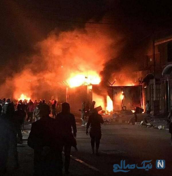 آتش زدن کنسولگری ایران در نجف