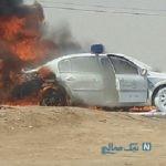 آتش گرفتن ماشین پلیس در بوشهر