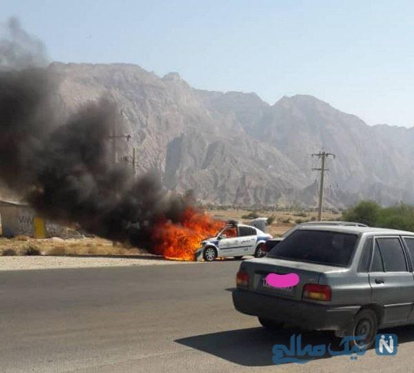 آتش گرفتن ماشین پلیس
