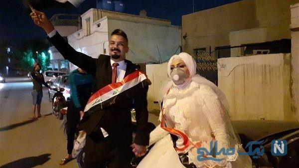 عروس و داماد در تظاهرات میدان التحریر بغداد